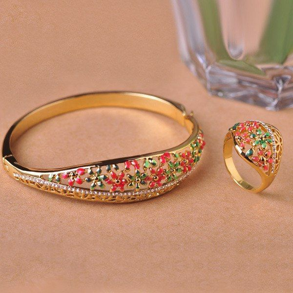 Classic Enamel Bangle Ring Sets Hollow Out Joias Ouro 18K Flower