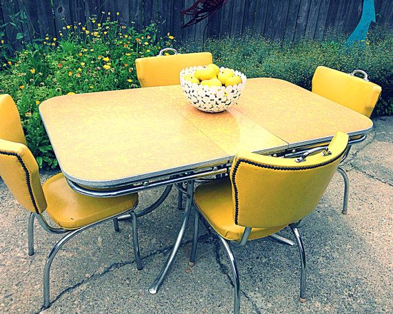 Sale 1950 S Yellow Grey Mother Of Pearl Duncan Phyfe Style Etsy Retro Kitchen Accessories Formica Table Table Design