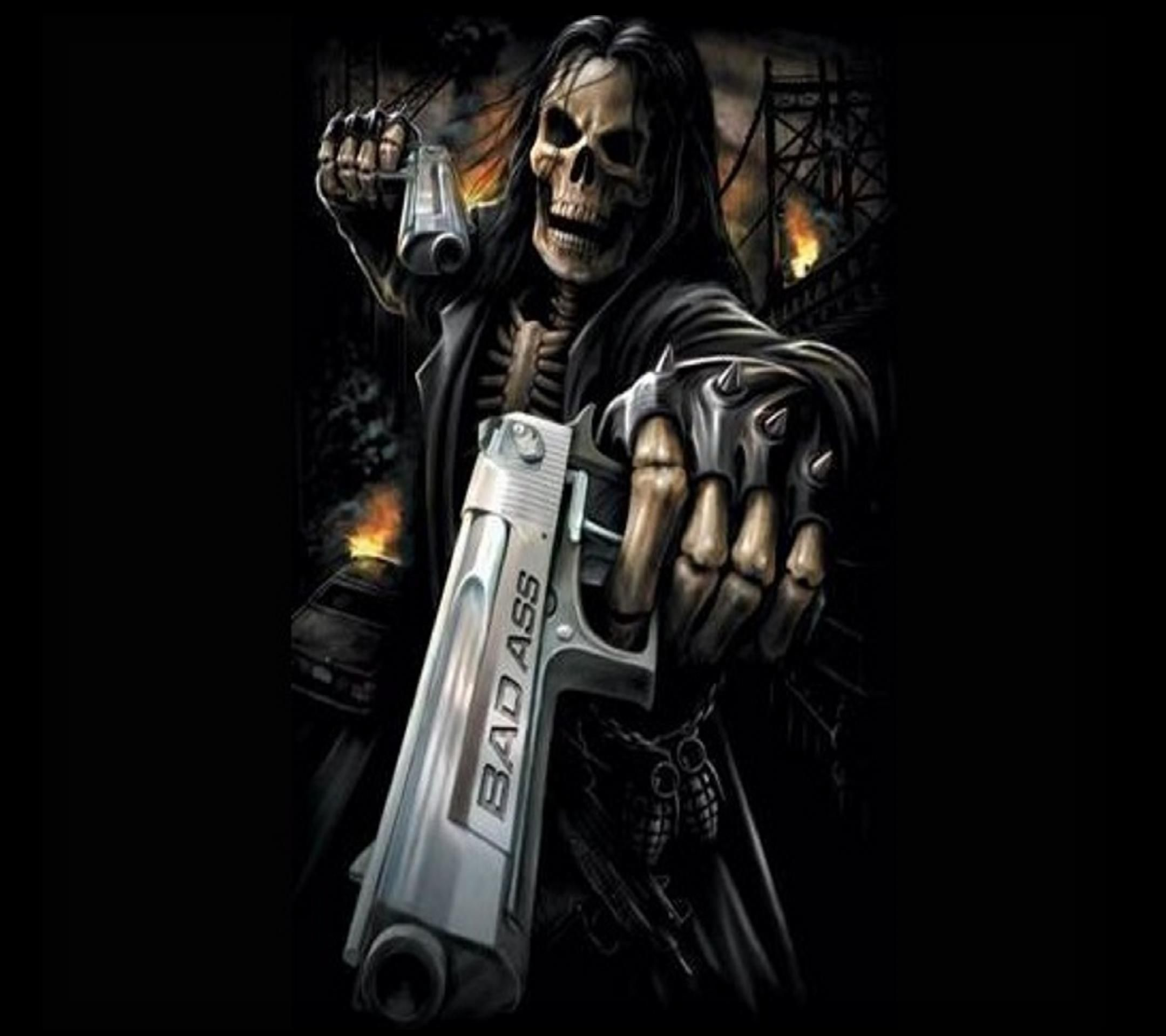 Badass Skulls Grim Reaper Skull Wallpaper Gun Fantasy Art Mobile Phones Pastels Tattoo Drawings Football Team