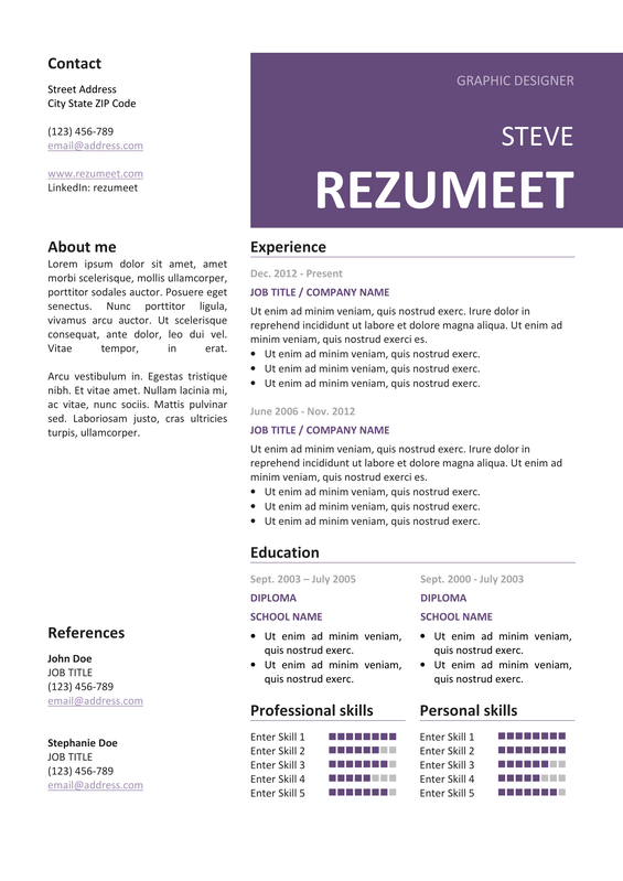 Peckham  Free Resume Template  Purple  Classic Resume Templates