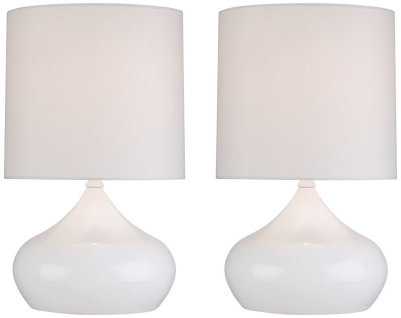 Steel Droplet White 14 3/4-Inch-H Set of 2 Accent Lamps - #EUX6634 - Euro Style Lighting