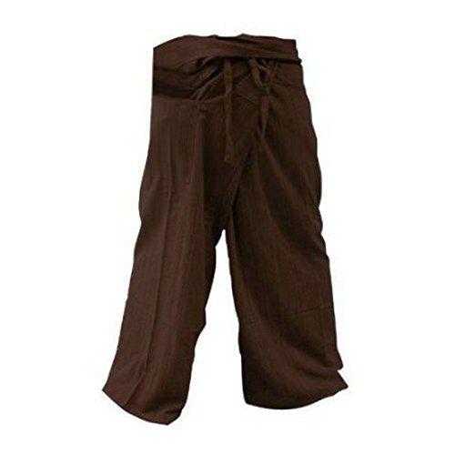 Yoga Pants Trousers Thai Fisherman Pants Free Size Cotton Drill Stripes Dark Brown
