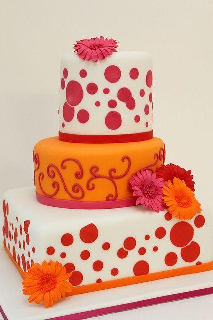 Cake Pink And Orange Wedding