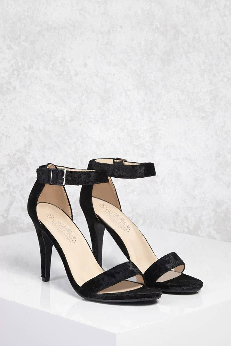 545087a272c A pair of crushed velvet single sole heels featuring an open toe