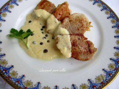 Cocinando para ellos : SOLOMILLO EN SALSA DE QUESO A LA PIMIENTA