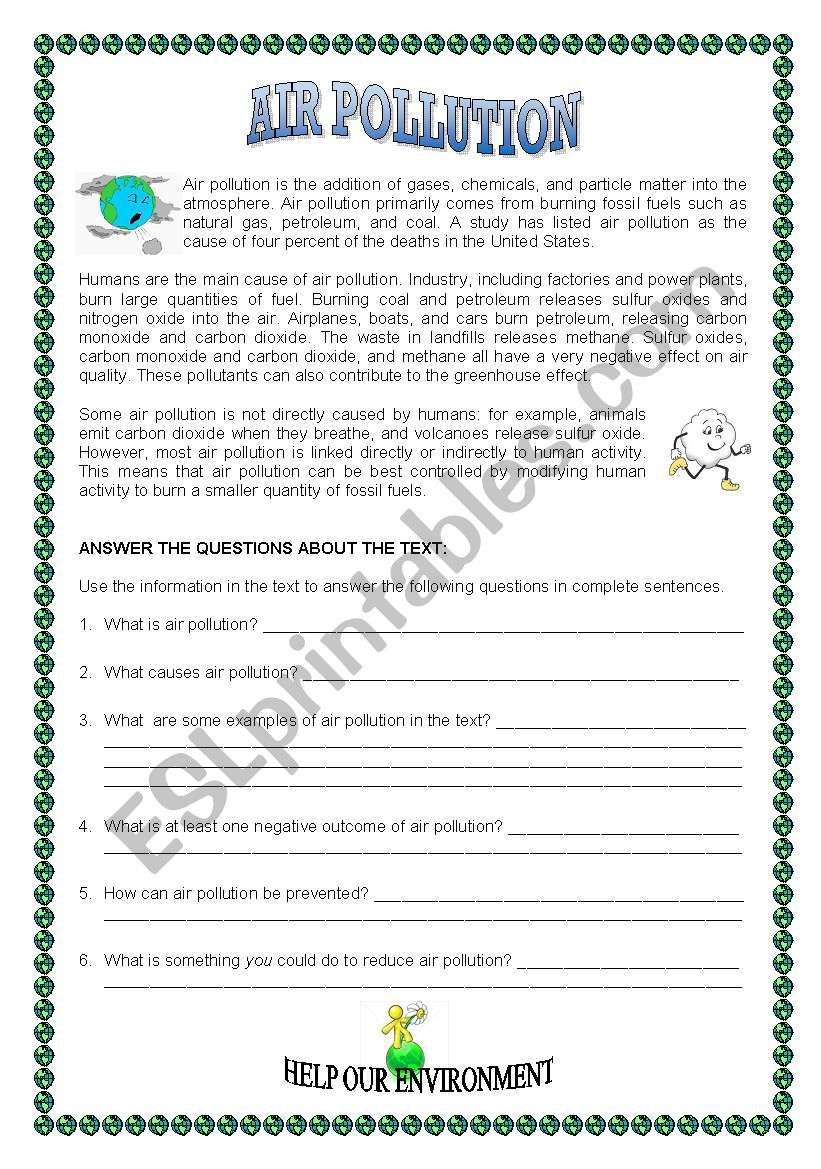 An Interesting Reading Comprehension Text To Make Our Students Aware Of The Importance O Reading Comprehension Worksheets Reading Comprehension Texts Pollution [ 1169 x 821 Pixel ]