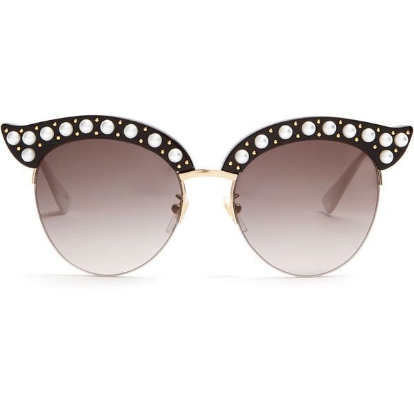 9141218a6f Gucci Cat-eye pearl-embellished metal sunglasses ( 558) ❤ liked on Polyvore  featuring accessories