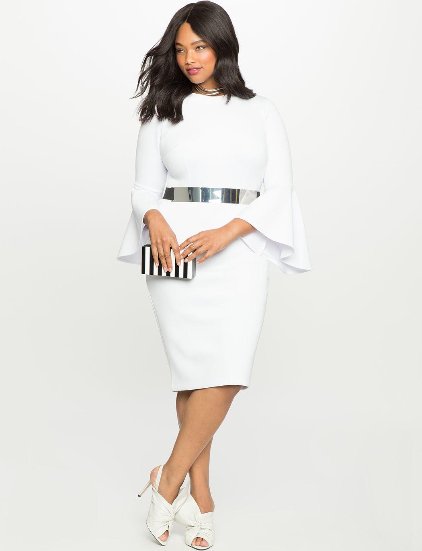 Flare Sleeve Scuba Dress | Women\'s Plus Size Dresses in 2019 | ebay ...