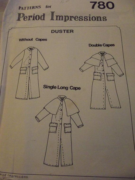 Sewing Pattern Men\'s Duster Coat Several versions Civil War 1860s ...