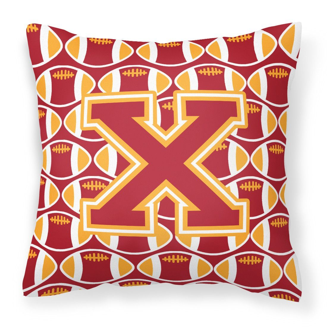 Letter X Football Cardinal and Gold Fabric Decorative Pillow CJ1070-XPW1414