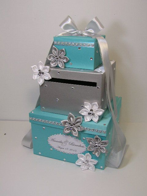 Tiffany And Silver Wedding Card Box Gift Card Box By Bwithustudio