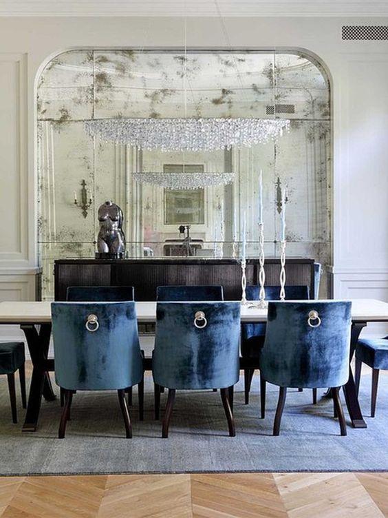 2013 Navy Blue Dining Room Design   Love The Antique Mirror
