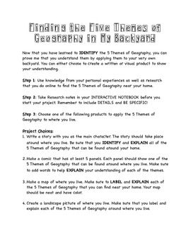 This product includes a rubric, note taking sheet, Learning Targets, and product descriptor. I used this as a final assessment for my beginning of the year unit on the 5 Themes of Geography. I used this with my 7th graders but it could be easily adapted for other grades as well.