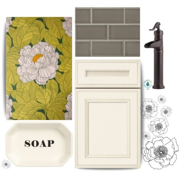 Flowery Powder Room by kkfales on Polyvore featuring interior, interiors, interior design, home, home decor, interior decorating, H&M and VesseL