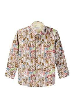 5483b7803 Beige and Brown Botanical Stripe Print Shirt (Toddler