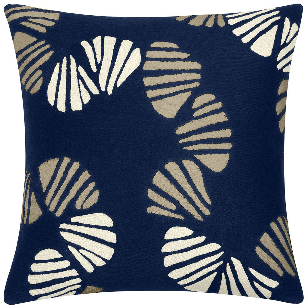 Great Judy Ross Textiles Hand Embroidered Chain Stitch Shells Decorative Pillow  Navy/oyster/cream Nice Look