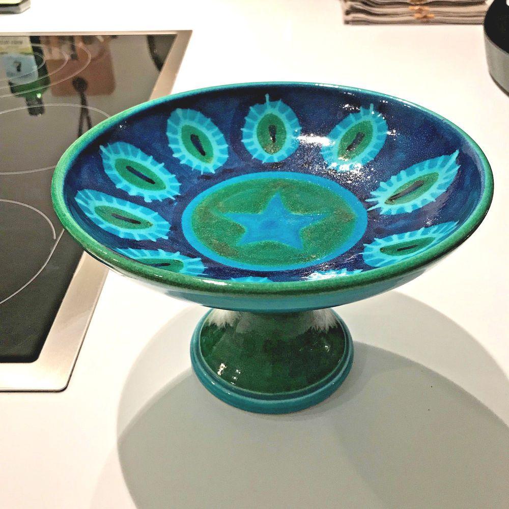 Aldo Londi Raymor Bitossi M C Modern Remini Blue Pottery Pedestal Bowl Compote Bitossi Midcenturymodern Blue Pottery Pottery Ebay