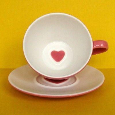 2pc Starbucks Large Coffee Mug Cup Saucer 2005 Valentine Day Heart Pink Dessert