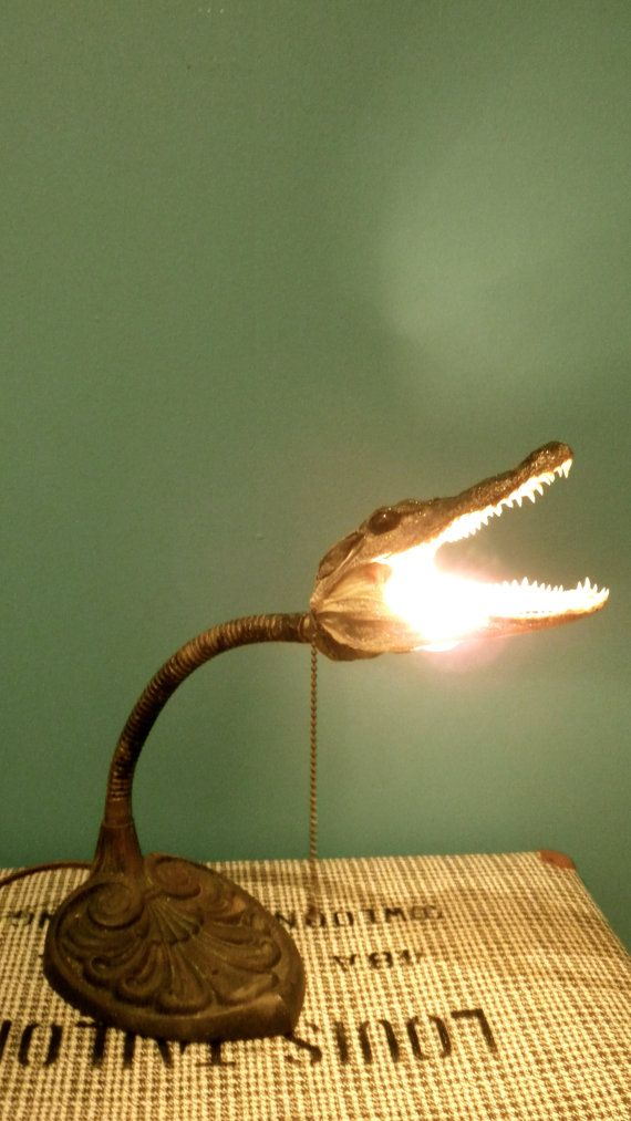 Alligator head lamp by outlawsandindians on etsy