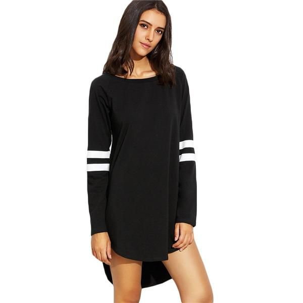 6ecf227cae Black With White Striped Round Neck Long Sleeve Casual High Low Short Dress