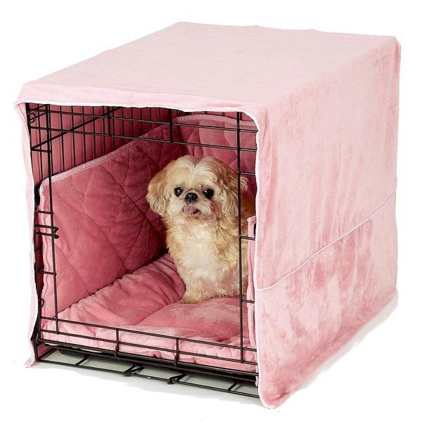 Plush Dog Crate Cover and Bed - Pink  38966ffdab