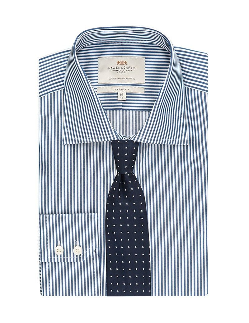 394bfba02a Men's Navy & White Bengal Stripe Classic Fit Shirt - Single Cuff - Easy Iron
