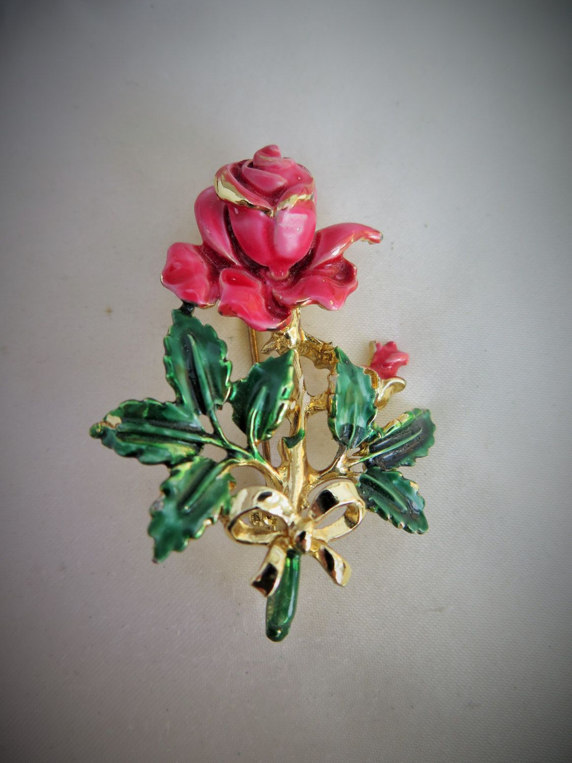 Vintage Exquisite Birthday Series Rose Brooch For Birthdays In June
