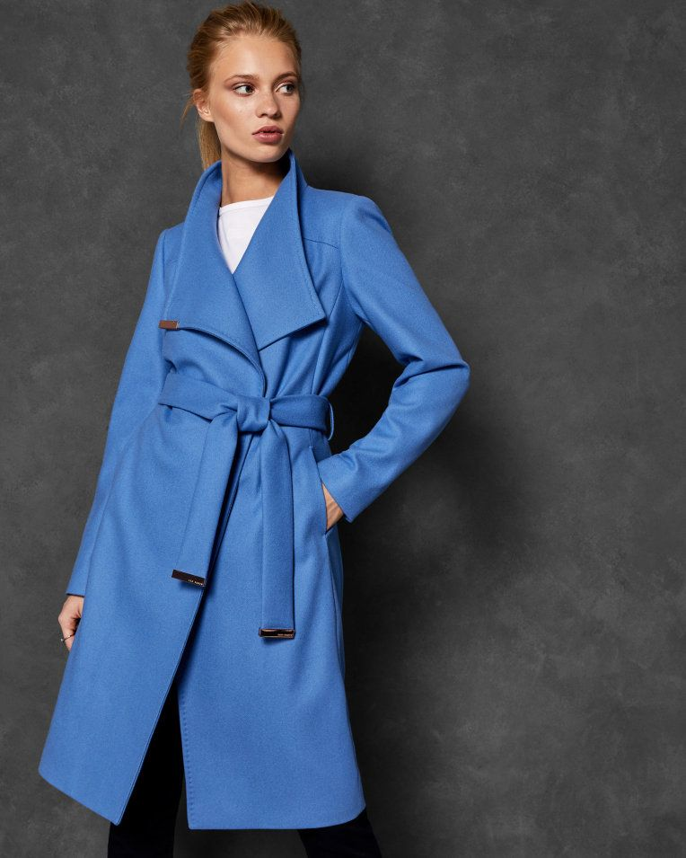 65c7d834b Midi wool wrap coat - Mid Blue | Jackets And Coats | Ted Baker ...