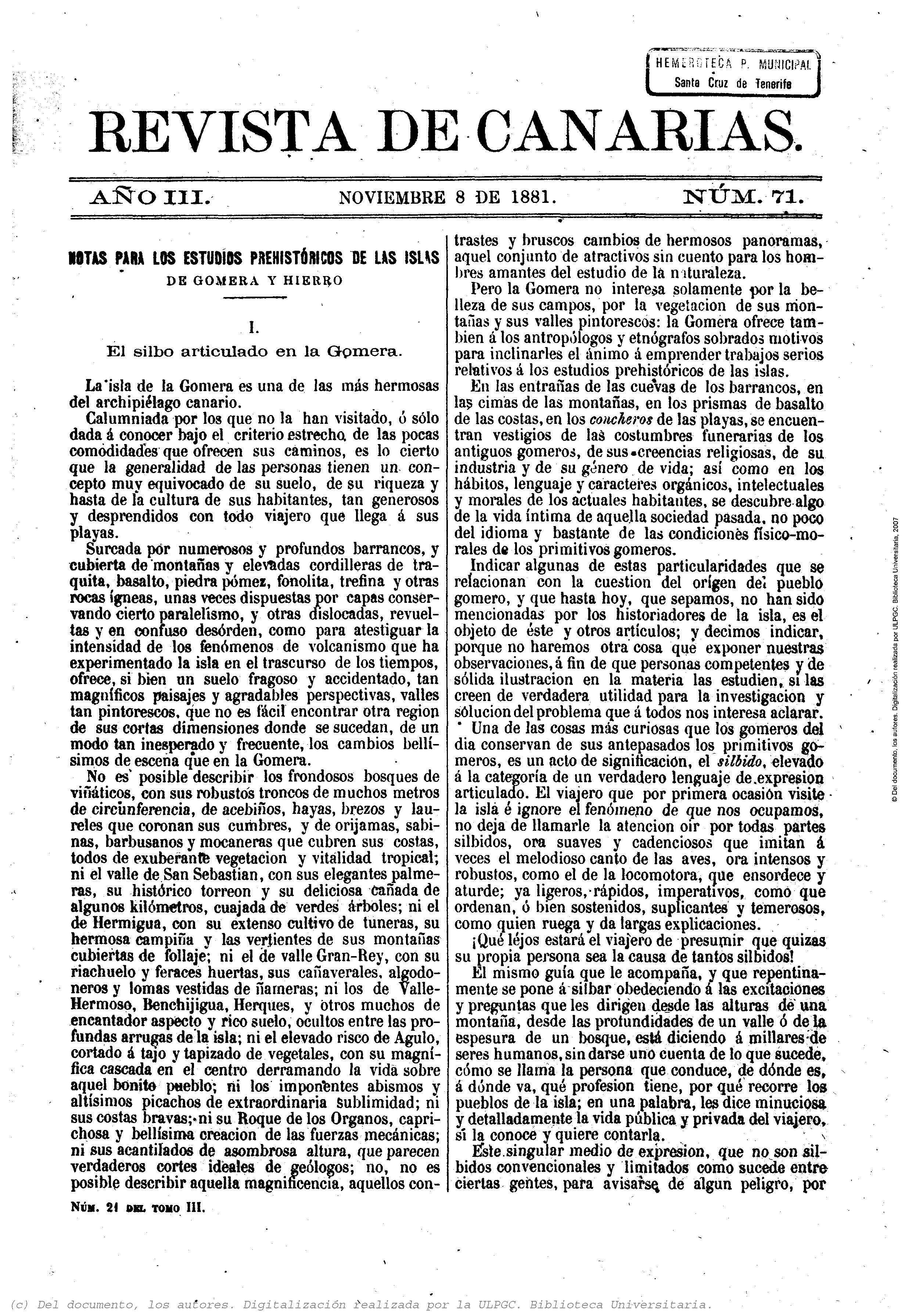 """Revista de Canarias, 8 de noviembre de 1881, número 71. Las páginas 1 y 2 están dedicadas al artículo de Juan Bethencourt Alfonso """"El silbo articulado en la Gomera"""""""