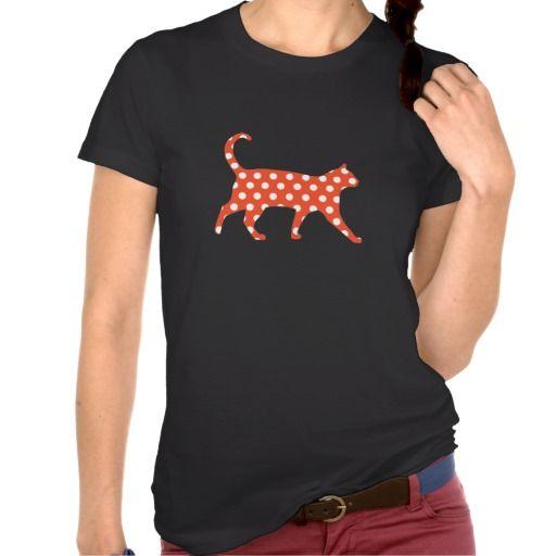 Retro orange polka dots cat silhouette print