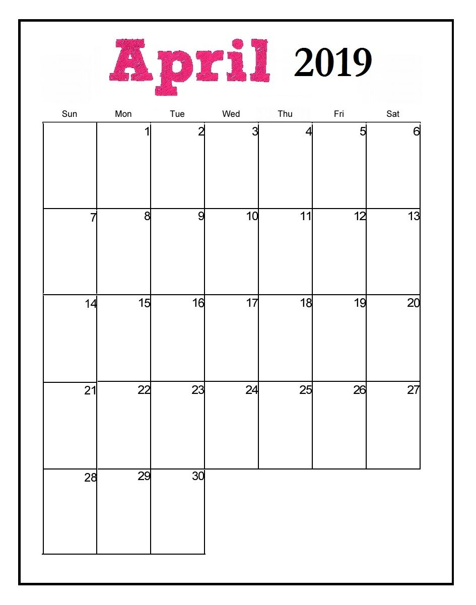 image relating to Printable Calendar April named April 2019 Editable Calendar #april #april2019calendar