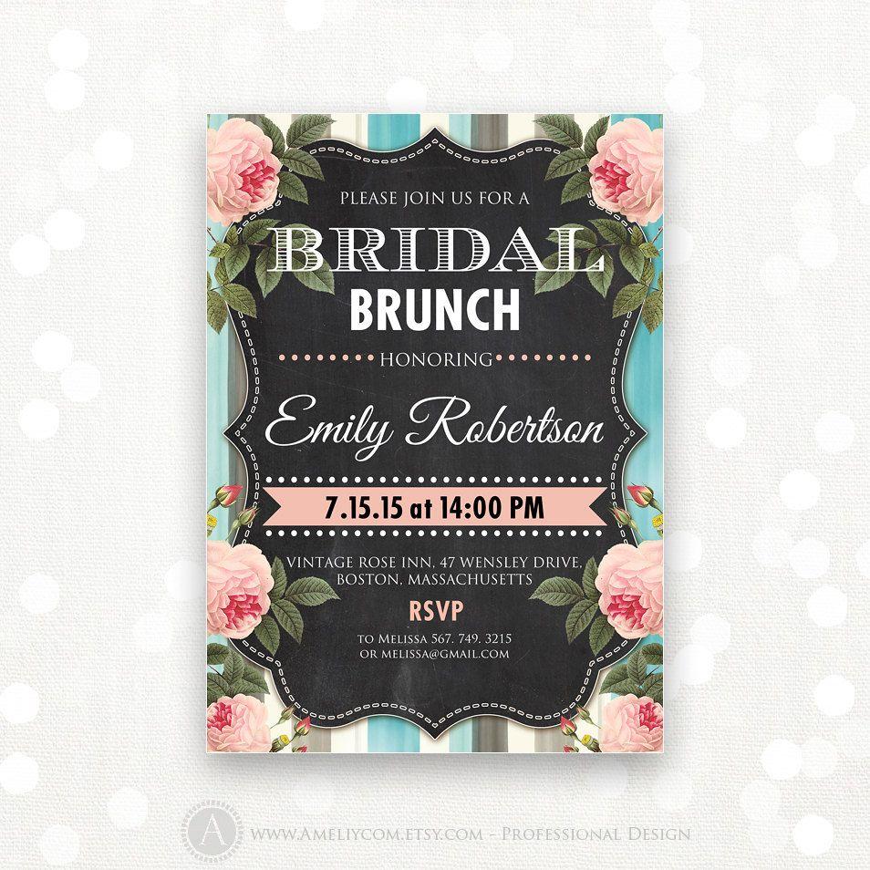 Printable Bridal Brunch Invite Shower Por Ameliycom En Etsy