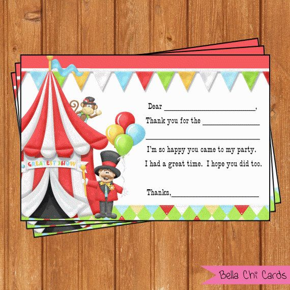Circus Carnival Kids Birthday Thank You Cards By Bellachicards