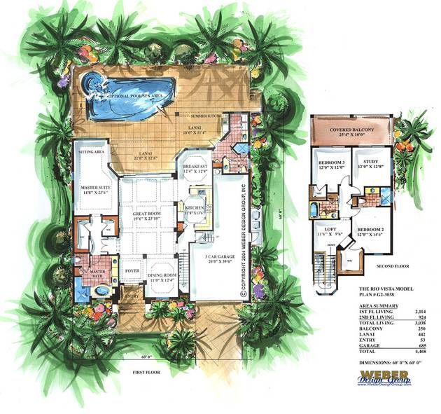 rio vista home plan-narrow lot house plansweber design group