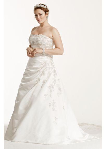 f41e228b013ba David's Bridal: A-line Plus Size Wedding Dress with Lace Up Back 9V9665