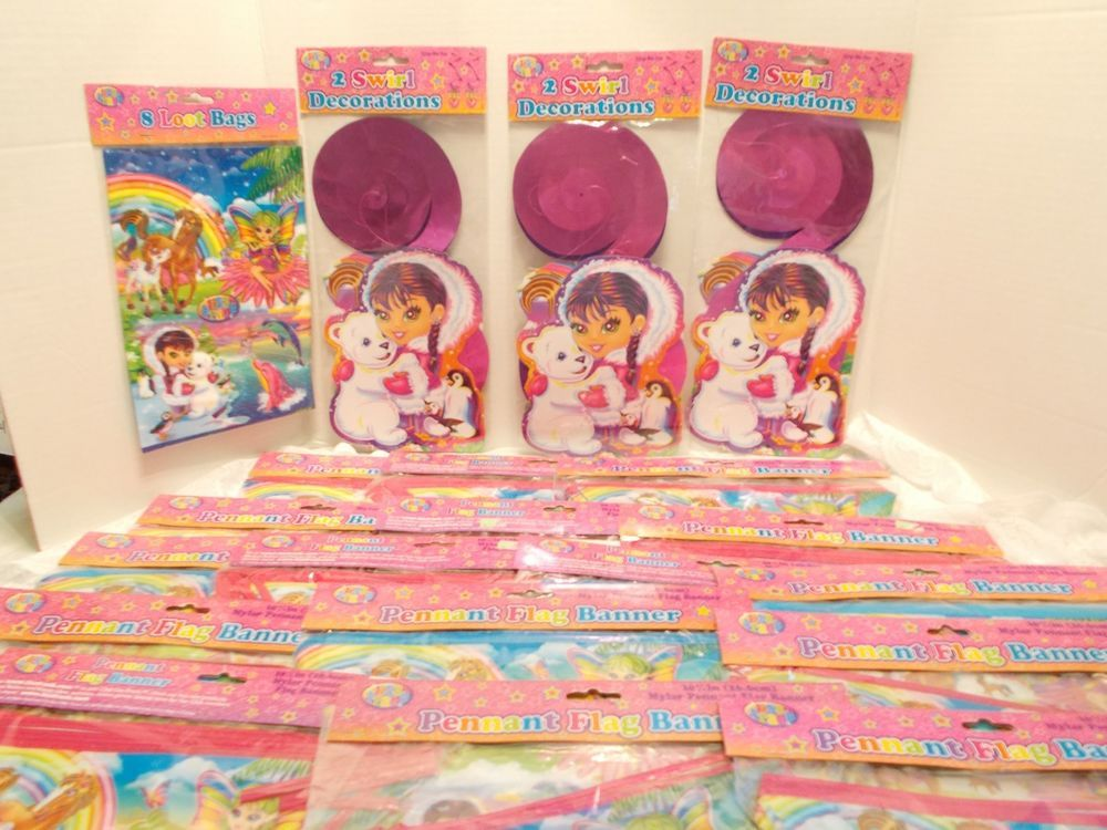 """Lisa Frank Character Mylar Pennant Flag Banners Party Decorations Birthday 10.5"""""""