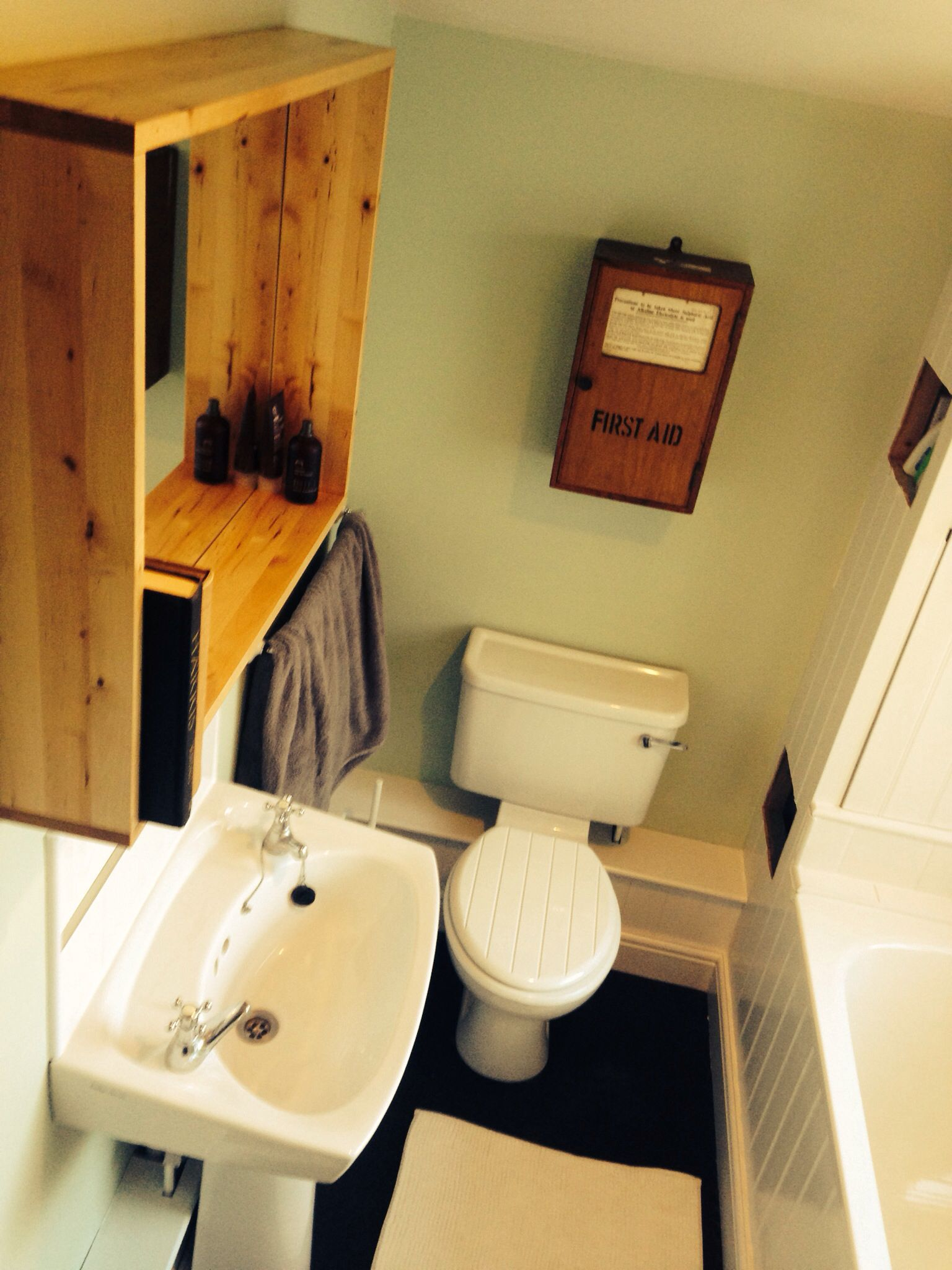 New bathroom with willow tree by Dulux and an old first aid box ...
