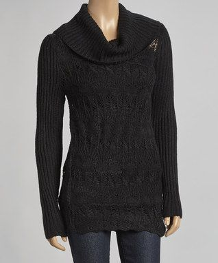 Black Ribbed Cowl Neck Sweater