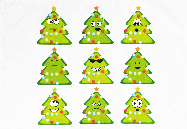 The Festive Emoji Christmas Trees Large Cotton Tea Towel Emoji Christmas Emoji Christmas Tree Cotton Tea Towels
