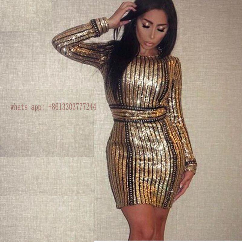 6ef001bbbf0f Click to Buy    2017 celebrity hot women dress summer sequin bling black