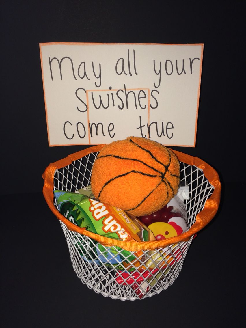 I Made This Gift Basket For My Boyfriends First Basketball Game Of The Season The Wire Basket Hoop Is From Senior Night Gifts Basketball Gifts Senior Gifts