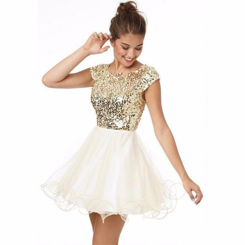 Custom Made Homecoming Dresses Under 100 A Line White And Gold Sequins Short Party Dress For S Prom