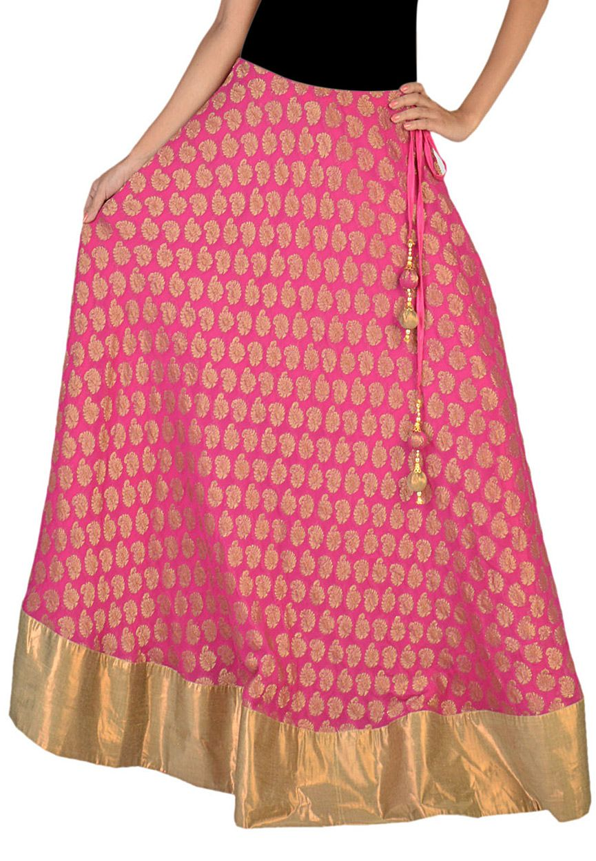 Buy Pink Faux Georgette Readymade Long Skirt online, work: Woven ...