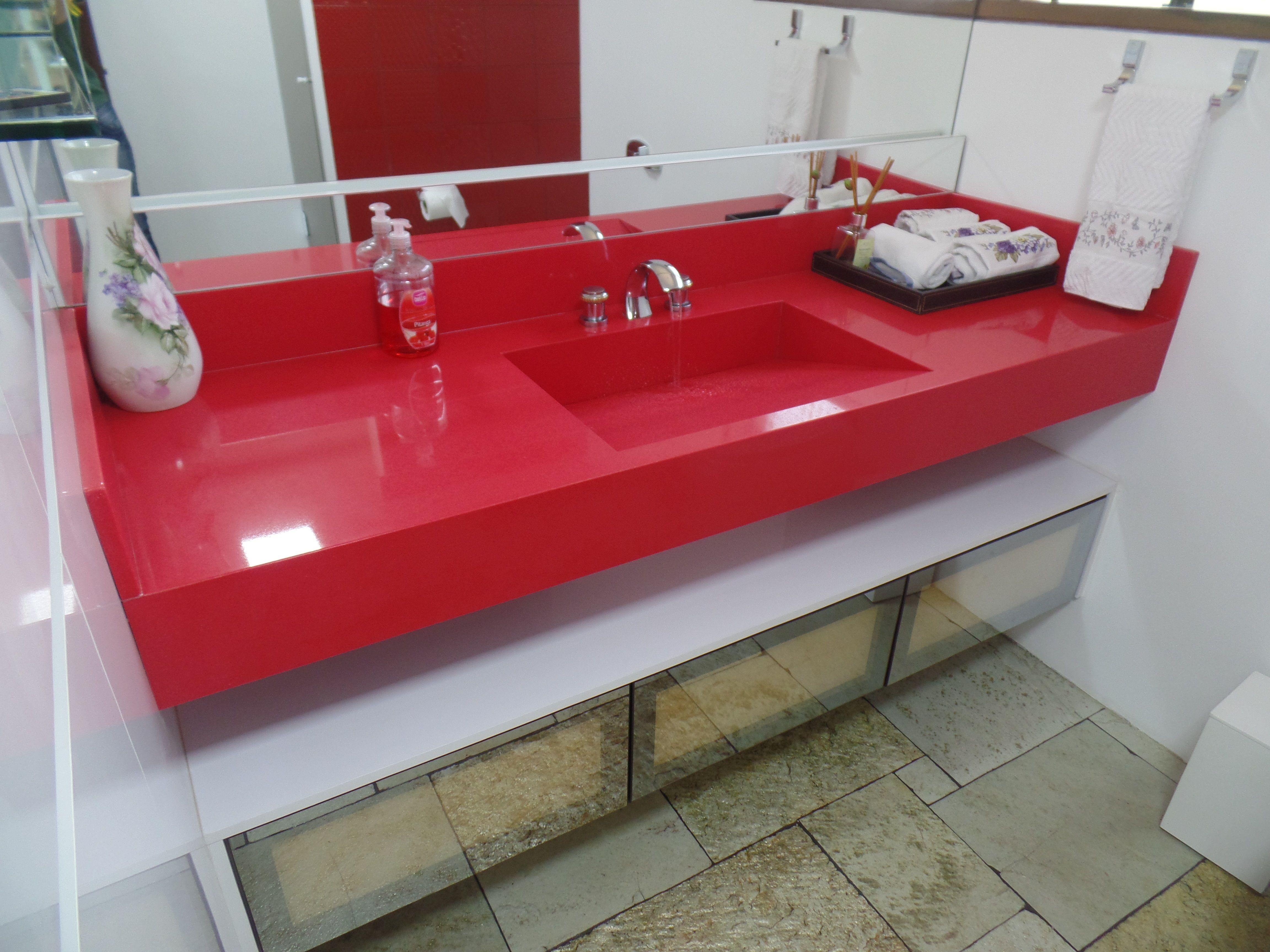 Arbeitsplatte Badezimmer ~ Bancada e cuba de banheiro em silestone rosso monza banheiros