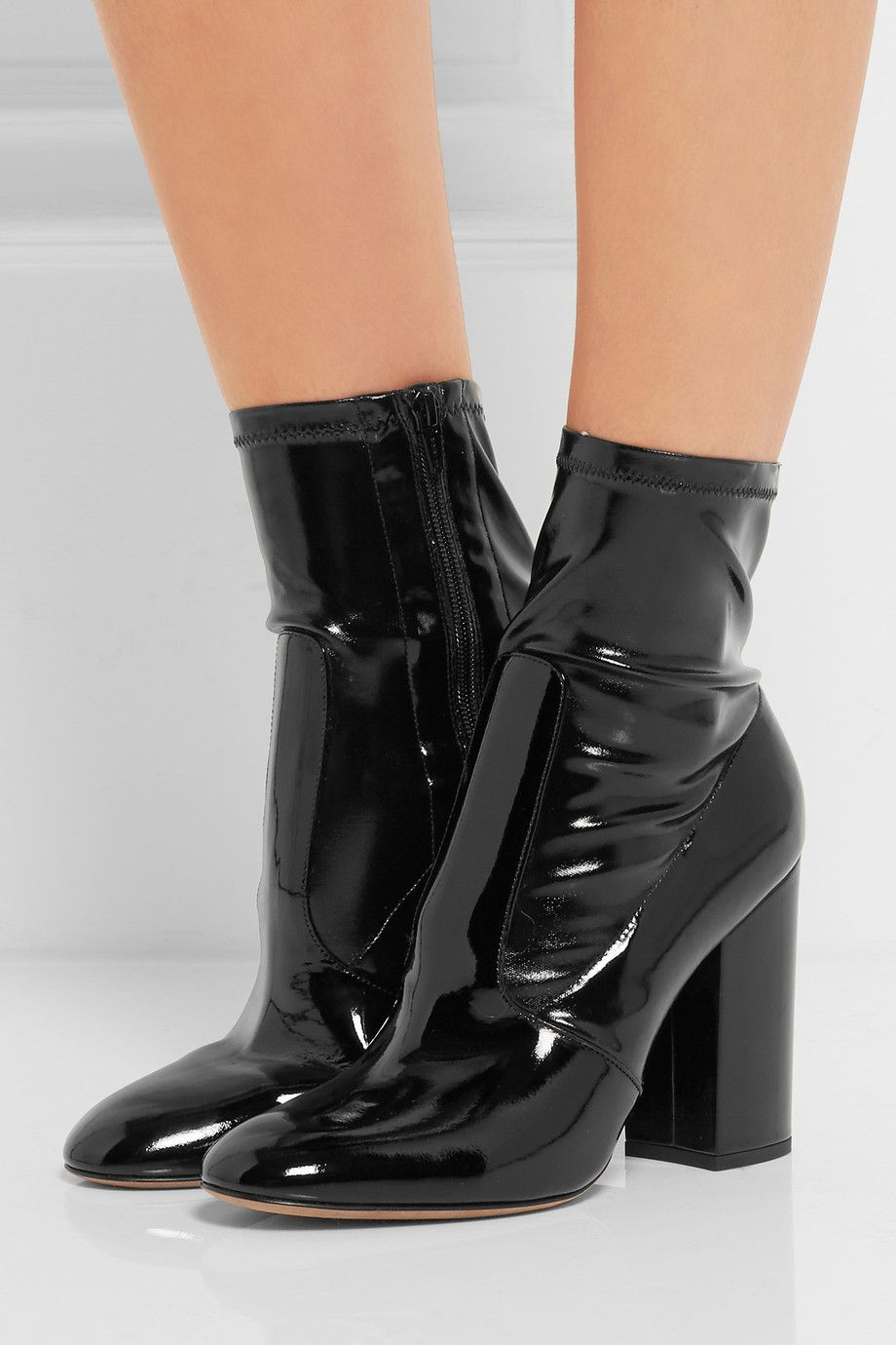 Valentino Patent Leather Ankle Boots Net A Porter Com