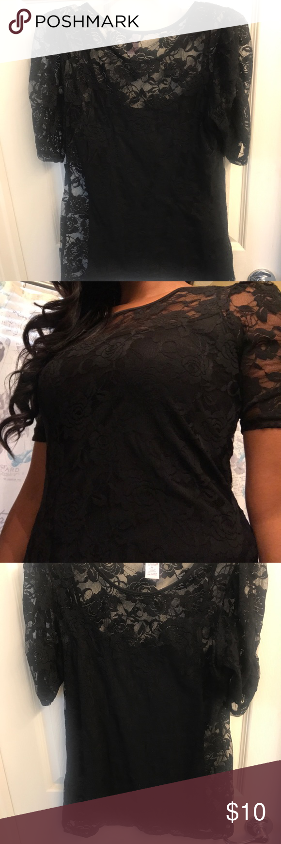 23555434403c7 🎊Bobbie Brooks Black Lace Shirt w  camisole Bobbie Brooks Black Lace Shirt  with attached camisole. Size M Bobbie Brooks Tops Blouses