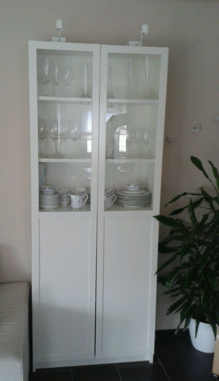 ikea b cherregal vitrine billy oxberg wei mit 2 x licht oben in in wetter ebay cabinet. Black Bedroom Furniture Sets. Home Design Ideas