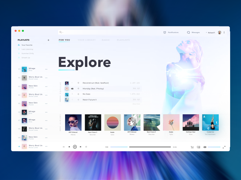 Music Player Aqua Desktop Web App Design Music Players Food Web Design
