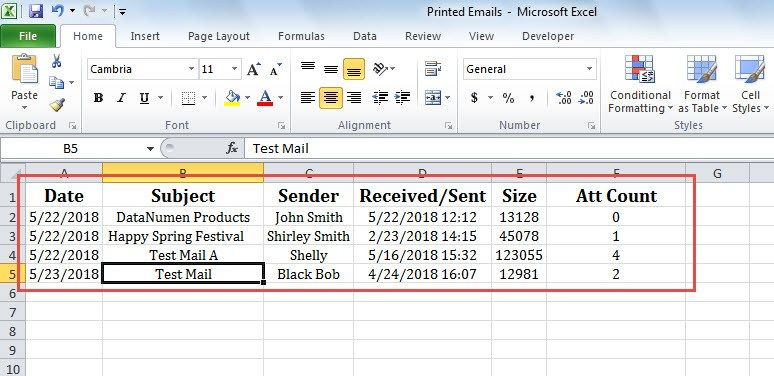 How to Auto Log Each Printed Outlook Email in Excel Workbook - printing excel spreadsheets