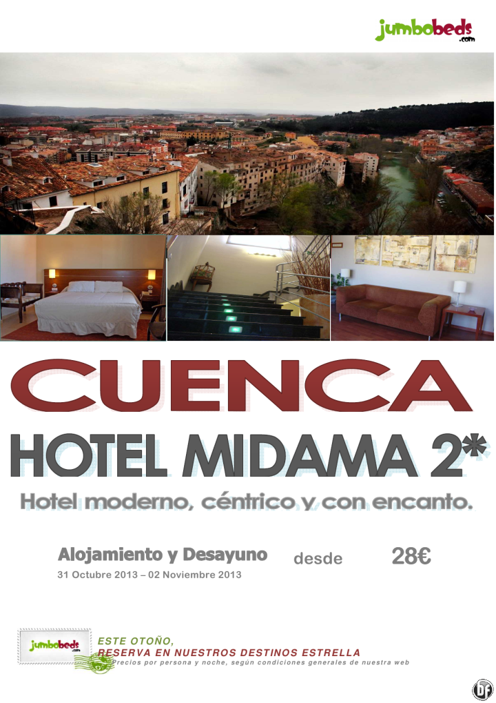 ¡¡¡ En el Puente de Todos los Santos visita Cuenca - Hotel Midama 2* en AD dsd 28€ pax/dia !!! - http://zocotours.com/en-el-puente-de-todos-los-santos-visita-cuenca-hotel-midama-2-en-ad-dsd-28e-paxdia/